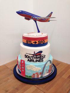SOUTHWEST AIRLINES cake #southwest #airlines #SouthWestCake #airplane #cityscape #arch #buildings #StLouis #STL #SanFransico #SFO #goldengatebridge #fondant #cakeshop #TheSweetDivine Retirement Celebration, Retirement Cakes, Retirement Parties, Fancy Cakes, Cute Cakes, Airplane Party, Airplane Cakes, Planes Cake, Planes Birthday