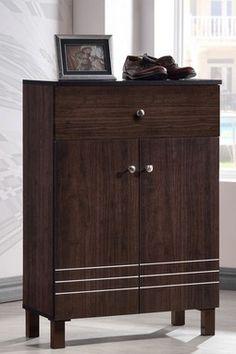Felda Dark Brown Modern 2-Door Shoe Cabinet