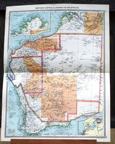 Large Western Australia Goldfields circa 1908 Harmsworth Atlas Antique Map