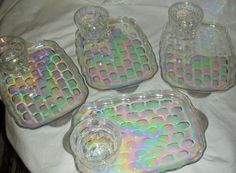 Vintage '67 Federal Glass Co 8 Piece Iridescent Carnival Snack Set Unused & A+++ #FederalGlassCompany