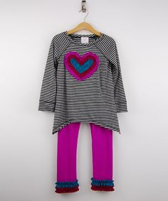 Another great find on #zulily! Black Heart Tunic & Magenta Leggings - Girls #zulilyfinds