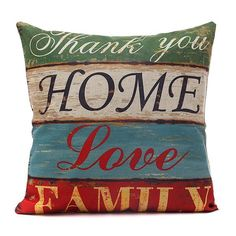 Chic Quality Horizontal Block Love Home Pattern Pillow Case