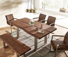Baumtisch Live-Edge 180x100 Akazie Braun Platte 5,5 Gestell breit Butterfly Verbinder Möbel Tische Esstische