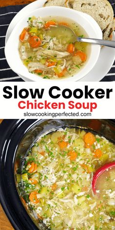 A deliciously healthy slow cooker chicken soup. This refreshing slow cooker chicken soup is a must-try. It's packed with vegetables, pulled chicken, and cooked in a delicious herby chicken broth. Healthy Chicken Soup, Slow Cooker Chicken Healthy, Vegetable Soup With Chicken, Chicken Soup Recipes, Healthy Soup, Healthy Recipes, Chicken Cooker, Leftover Chicken Soup, Chicken Broth Soup