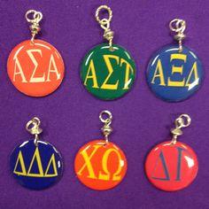 Sorority Greek Letter Charms - Alpha Sigma Alpha, Alpha Sigma Tau, Alpha Xi Delta, Chi Omega , Delta Gamma, Delta Delta Delta by AnnPedenJewelry on Etsy