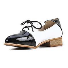 Chaussures Femme - Décontracté - Rose   Blanc - Talon Bas - Bout Fermé -  Richelieu - Similicuir 88d621018307