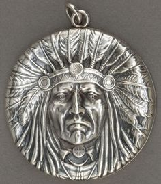 Unger Brothers sterling silver Indian Chief pendant