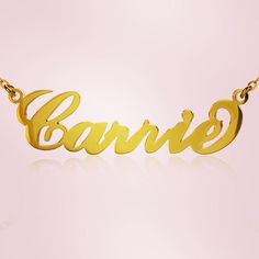 Personalised Gifts Ideas  : 18ct Gold Plated Carrie Style Name Necklace