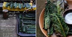 Kale Chips: a super quick, easy and healthy alternative to potato chips and french fries. I LOVE Kale Chips! Vegetarian Recipes, Snack Recipes, Cooking Recipes, Healthy Recipes, Drink Recipes, Healthy Cooking, Healthy Snacks, Healthy Eating, Healthy Chips