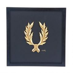 Handmade Wall or Table Laurel Wreath Gold Patinated on Black Leather, Framed – Laurel Wreath İdeas. 3d Wall Art, Framed Wall Art, Wall Art Decor, Leather Wall, Black Leather, Black Gold, How To Make Ornaments, How To Make Wreaths, Laurel Wreath Tattoo