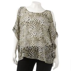 Jennifer Lopez Printed Chiffon Caftan Top - Women's Plus