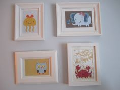 We made and framed little animals for her room - thank you create a critter cricut!