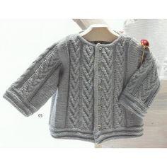 Modèle à tricoter gratuit Cardigan Bébé Laine Katia Coton Mississippi 3