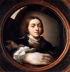 """Round Selfie with an unproportional hand in front of him by Francesco Parmigianino, an Italian Mannerist painter and printmaker 1524, """"Self-Portrait in a Convex Mirror"""""""