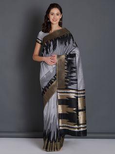 Grey Saree, Party Wear Sarees, Saree Wedding, Cotton Saree, Sarees Online, Sari, Fashion, Saree, Moda