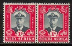 South Africa 1947 Royal Visit 1d, bi-lingual pair MNH**