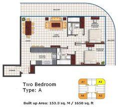 dubai oasis tower 2 two bedroom suite floor plan