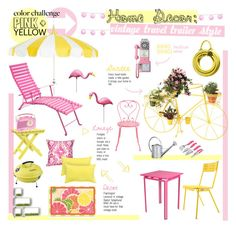 """""""Vintage Outdoor Trailer Style Decor (Pink+Yellow)"""" by annellie ❤ liked on Polyvore featuring interior, interiors, interior design, home, home decor, interior decorating, Garden Glory, Bungalow Flooring, Dot & Bo and Fermob"""