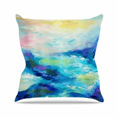 "Ebi Emporium ""Taken By The Undertow"" Green Blue Outdoor Throw Pillow"