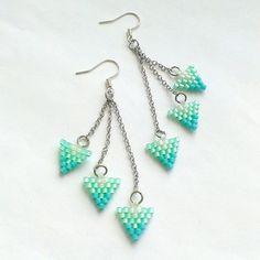 Beaded Turquoise Dangle Earrings-Seed Bead Delica by Galiga