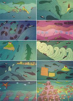 Ponyo (崖の上のポニョ Gake no Ue no Ponyo) opening credits artwork Studio Ghibli Films, Art Studio Ghibli, Totoro, Kawaii, Illustrations, Illustration Art, Opening Credits, Howls Moving Castle, Hayao Miyazaki