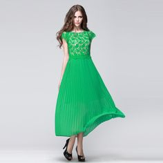 Lace retro elegant pleated skirt maxi dress! -FashionTheBox.Com