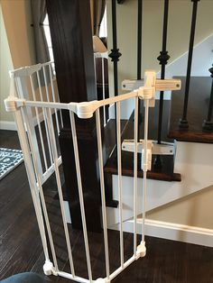 Configure gate with no drill-holes ballister mount. Done by Safe Beginnings Childproofing.