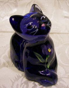 "Fenton Glass 2008 Hyacinth Color Handpainted ""Perky"" Cat | eBay"