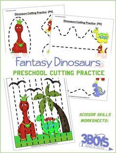 Cutting Practice Sheets, Preschool Cutting Practice, Shapes Worksheet Kindergarten, Cutting Activities, Kindergarten Worksheets, Printing Practice, Kindergarten Prep, Dinosaur Worksheets, Dinosaur Activities