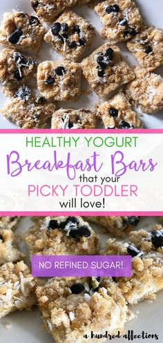 If you struggle to get nutritious food into your picky toddler, help is on the way!  This is a delicious, easy recipe for yogurt breakfast bars (no refined sugar!) featuring HappyTot Yogurt  that your toddler-critic will love! #breakfastbars #breakfast #yogurt #toddlers #heatthybreakfast #HappyBellies #sponsored