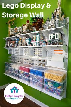 Master your Lego storage and organization with Wall Control pegboard panels and accessories. With clear bins and drawers all your Lego bricks and pieces are stored and easily accessible for building and display. This wall hung arrangement is great for sma Pegboard Craft Room, Pegboard Storage, Kitchen Pegboard, Pegboard Display, Tool Storage, Ikea Pegboard, Painted Pegboard, Metal Pegboard, Lego Display Shelf