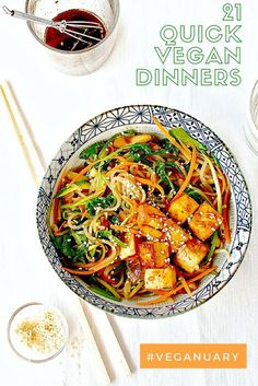 21 quick vegan dinners for mid-week meals. Including this Korean Sweet Potato Noodle Stir Fry (Japchae) with Marinated and Baked Tofu . Why not join in with Veganuary or swap a few meals a week for low calorie vegan meals. A great way to kickstart your health or a diet.