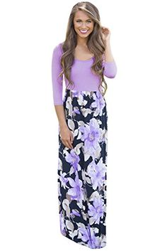 Wisdoy Women's Mint/Pink/Purple Floral Print 3/4 Sleeve Long Boho Maxi Dress Sundress