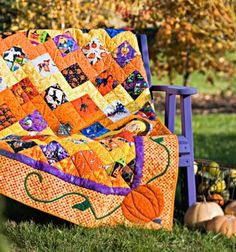 """Goblins and witches and bats, oh my! Scary things are the theme of this seasonal """"hide-and-seek"""" throw. squares assorted novelty prints, fussy-cut on point (blocks). Halloween Quilt Patterns, Halloween Quilts, Fall Halloween, Halloween Crafts, Halloween Table, Halloween Halloween, Halloween Sewing, Halloween Designs, Vintage Halloween"""