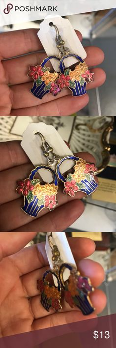 Enamel Blue Flower Basket Earrings Vintage Good condition. Deep blue red green and orange. Rainbow colors. Light weight. Seventies. Easter. B000450488871626 Vintage Jewelry Earrings
