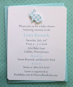 Tiffany Blue Gingham Baby Shower Invitations  Bunny by AzureHaven, $18.00