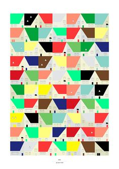 I can see turning this into an Amish-like quilt (with solid colors), only it's the suburbs. I think the doors would be appliquéd on.