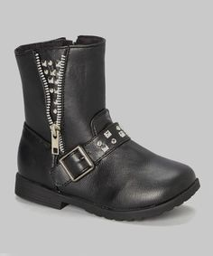 Look what I found on #zulily! Black & Silver Studded Moto Boot - Kids by VeeVee #zulilyfinds