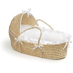 Shop for Badger Basket Natural Baby Moses Basket with Ecru Gingham Bedding. Get free delivery On EVERYTHING* Overstock - Your Online Baby Furniture Shop! Get in rewards with Club O! Baby Moses, Toddler Furniture, Baby Nursery Furniture, Nursery Ideas, Children Furniture, Project Nursery, Nursery Decor, Cradles And Bassinets, Best Bassinet