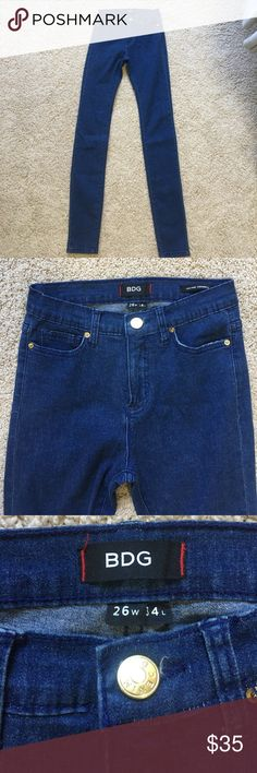 """BDG HIGH WAIST DENIM True blue denim! Super high waisted. Very long. 26X34. Can be cut to fit your height. Thy were very long on me and I'm 5'6"""". Never worn!!! BDG Jeans Skinny"""