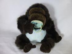 """Plush Creations 11"""" Baby Gorilla Ape Monkey Plush with Pacifier & Diaper toy #PlushCreations"""