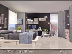 One Room Living - Bedroom by ung999 - Sims 3 Downloads CC Caboodle