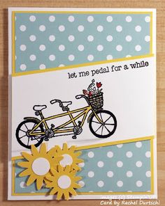 Bicycle Built for Two with the perfect sentiment #PedalPusher  #BicycleCard #BicycleStamp #StampinUP