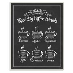 Stupell Decor Specialty Coffee Drinks Vintage Sign Wall Plaque Art - KWP-1044_WD_10X15
