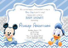 Baby Mickey Baby Shower Invitations Baby Donald