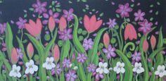 "acrylic painting 18x36 ""Mardi Gras"""
