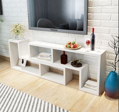 Contemporary Tv Cabinet Living Room Furniture Multifunctional Design White NEW