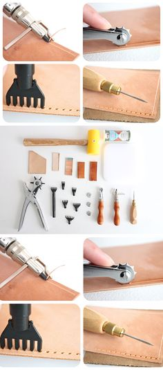 20 Tools Leather craft Hand Sewing Tool Set * You can find Leather Art, Sewing Leather, Leather Gifts, Leather Bags Handmade, Leather Pouch, Leather Design, Leather Tooling, Leather Jewelry, Leather And Lace