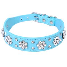 Beautiful leather dog collar with rhinestone flowers in a range of colours. Find the best rhinestone dog collars and save with Pawsify.  Free worldwide delivery