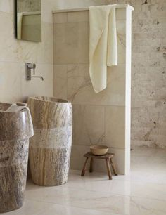 Schon 30 Awesome Neutral Bathroom Ideas: 30 Awesome Neutral Bathroom Ideas With  Wooden Vanity And Small Chair And Stone Shower Design